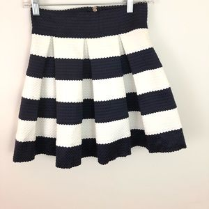HONEY PUNCH Blue White Striped Skater Skirt - M